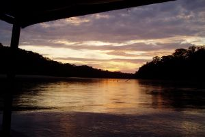 Sunset at the River in Manu National Park